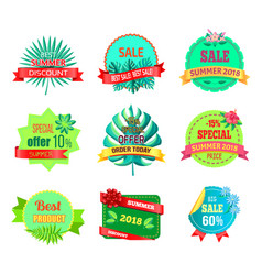 sale summer 2018 emblems with tropical plants vector image