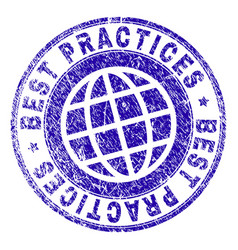 Scratched textured best practices stamp seal vector