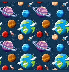 Seamless pattern planets and space vector