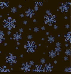 seamless snowflake pattern on a black background vector image
