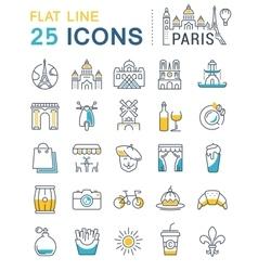 Set Flat Line Icons Paris vector