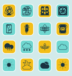 set of 16 harmony icons includes sunny weather vector image