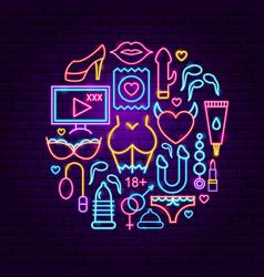 Sex shop neon concept vector
