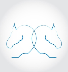 Sign of two horses stylized hand drawn vector image