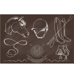 Silhouettes of horses and equipment player vector image vector image
