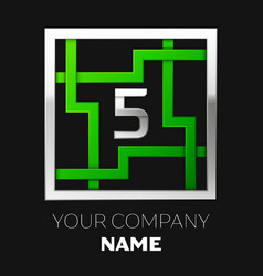 silver number five logo symbol in the square maze vector image