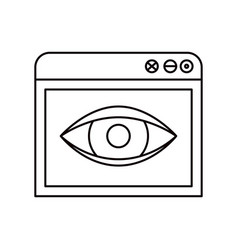sketch silhouette browser window with eye sketch vector image