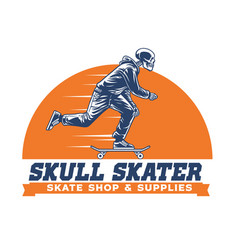 skull skateboard ride vector image