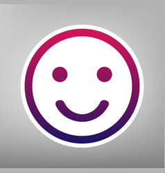 smile icon purple gradient icon on white vector image