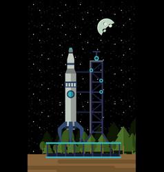 spaceship rocket on station vector image