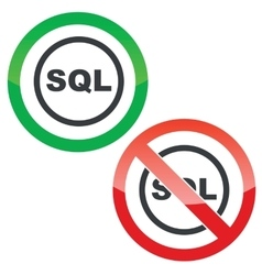 SQL permission signs vector image