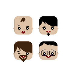 Square shape funny expression cartoon head vector