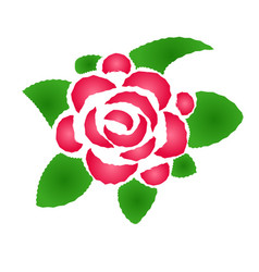stylized rose with leaves vector image
