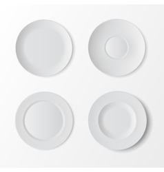 tableware set white plates on background vector image