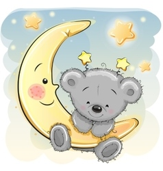 Teddy Bear on the moon vector