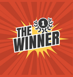 the winner typographic on red sun rays background vector image