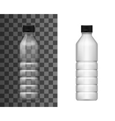 Transparent plastic bottle realistic mockup vector