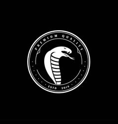 Vintage retro snake king cobra viper black mamba vector