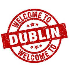 Welcome to dublin red stamp vector