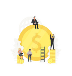 working people clean up and build the gold coin vector image