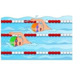 Young swimmer in the swimming pool vector image