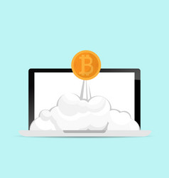 bitcoins launch from laptop cryptocurrency concept vector image