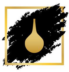 Enema sign golden icon at black spot vector