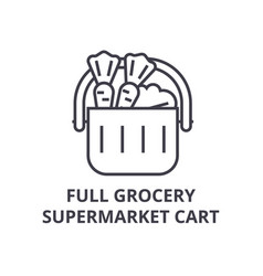 full grocery supermarket cart line icon outline vector image