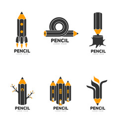 set of graphic black white and yellow pencil vector image