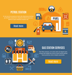 two fuel pump banner set vector image vector image