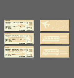 airplane bus train tickets concept design vector image