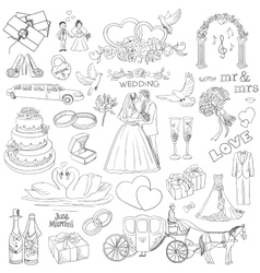 Hand drawn collection of decorative wedding design vector image vector image