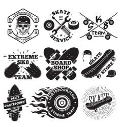 Set of skateboarding labels - skull in helmet vector image vector image