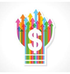 Dollar symbol on colorful arrow bulb vector image vector image