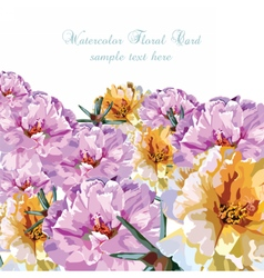 Greeting card with watercolor colorful flowers vector image