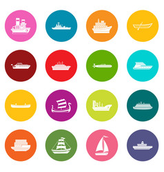 Sea transport icons many colors set vector