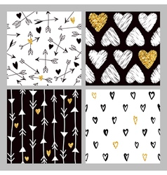 Valentines Day Golden Glitter Heart Patterns vector image vector image