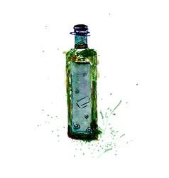 Watercolor Green Bottle vector image vector image