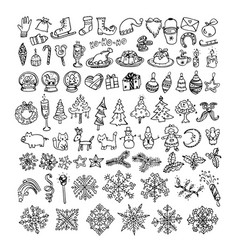 big bundle of winter doodles vector image vector image