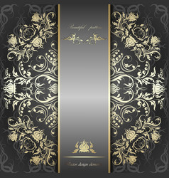 Elegant silver background with gold pattern vector image vector image