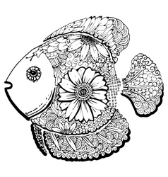 fish hand drawn doodle vector image