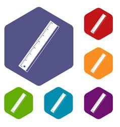yardstick icons set hexagon vector image vector image