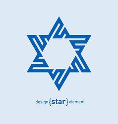 Abstract design element blue David star vector