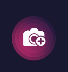 Add photo icon camera and plus vector