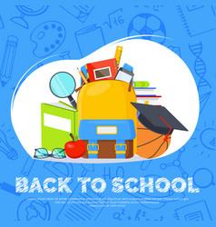 back to school banner backpack basketball ball vector image