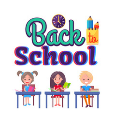 Back to school poster with stationary and pupils vector
