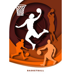 basketball player with ball silhouettes vector image