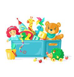 Batoys in box children toys in plastic vector
