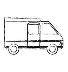 blurred silhouette truck vehicle of transport vector image