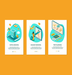 Booking isometric vertical banners vector